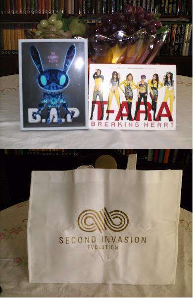 Got my stuff today! Yay! B.A.P - The Second Album PowerT-ara - Breaking Heart (Repackage Edition) Infinite's Second Invasion bag.