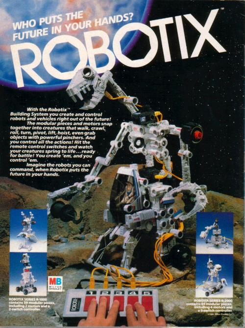 Ad for Milton Bradley's Robotix building system. Scanned from an issue of G.I. Joe Magazine. Corporate synergy in action!