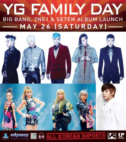 "[EVENT] ATTENTION VIPs: YG FAMILY DAY MAY 26 SATURDAY FROM UNIVERSAL RECORDS PHILIPPINES  VIPs! BLACKJACKs! LUCKY 7s! JOIN US ON MAY 26 (SATURDAY) AT ASTROPLUS THE BLOCK & ODYSSEY MEGAMALL FOR YG FAMILY DAY. WE ARE LAUNCHING ALL KOREAN IMPORTS! PRICES (KOREAN IMPORTS):▶BIG BANG ""Alive"" Korean Version (CD) PRICE: P850.00▶2NE1 ""2nd Mini Album"" Korean Version (CD) PRICE: P600.00▶2NE1 ""NOLZA: 1st Live Concert"" Korean Version (CD) P600.00▶2NE1 NOLZA: 1st Live Concert"" Korean Version (2DVD) P1,500.00▶SE7EN ""Digital Bounce"" Korean Version (CD) P500.00▶SE7EN ""2nd Mini Album"" Korean Version (CD) P600.00FREEBIES MECHANICS:★FOR EVERY SINGLE PURCHASE OF P500 TO P999 YOU'LL GET:- ONE (1) YG FAMILY DAY STICKER- ONE (1) YG FAMILY DAY POSTER★FOR EVERY SINGLE PURCHASE OF P1.000 TO P1,499 YOU'LL GET:- ONE (1) YG FAMILY DAY STICKER- ONE (1) YG FAMILY DAY POSTER- ONE (1) YG FAMILY DAY FOLDER- ONE (1) YG FAMILY DAY MEMO PAD- ONE (1) YG FAMILY DAY BAG- ONE (1) YG FAMILY DAY BALLER OF YOUR CHOICE- ONE (1) YG FAMILY DAY POSTER OF YOUR CHOICE★FOR EVERY SINGLE PURCHASE OF P1.500 & ABOVE YOU'LL GET:- ONE (1) YG FAMILY DAY STICKER- ONE (1) YG FAMILY DAY POSTER- ONE (1) YG FAMILY DAY FOLDER- ONE (1) YG FAMILY DAY MEMO PAD- ONE (1) YG FAMILY DAY BAG- THREE (3) YG FAMILY DAY BALLERS (BIG BANG, 2NE1, SE7EN)- THREE (3) YG POSTERS (BIG BANG, 2NE1, SE7EN)SEE U ALL ON MAY 26 (SATURDAY) AT ASTROPLUS THE BLOCK & ODYSSEY MEGAMALL FOR YG FAMILY DAY!!  ANOTHER MIND BLOWING EVENT BROUGHT TO US BY UNIVERSAL RECORDS PHILIPPINES TOGETHER WITH BIG BANG PHILIPPINES, 2NE1 PHILIPPINES AND SE7ENOLUTION PHILIPPINES!!! LOOK OUT VIPs, BLACK JACKS, AND LUCKY SE7ENS WE'VE GOT A LOT IN STORE FOR Y'ALL!! ^^  Universal Records Philippines Facebook Page 2ne1 Philippines Facebook Page Se7enolution Philippines Facebook Page Big Bang Philippines Facebook Page Big Bang Philippines Official Website 2ne1 Philippines Official Website http://z7.invisionfree.com/2ne1ph @2ne1ph @bigbangph @universalrecph"