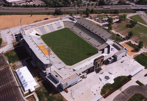 xiquarterly:  13 years ago today the first soccer-specific-stadium in MLS opened, Crew Stadium in Columbus. Funded by Lamar Hunt, the stadium was built in a little over a year and a crowd of 24,741 attended the inaugural game. Its pictured above from 1999. Now showing its age and rarely filled to the brim any longer, it remains a historic landmark in the American game.