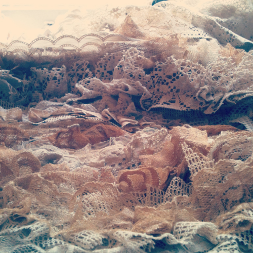 Lace mountain Working on two custom skirt orders right now that are gon be real pretty once I manage to finish