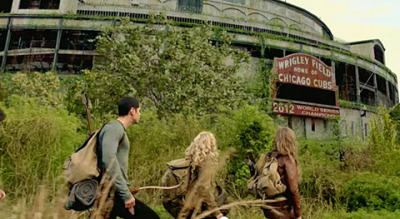 Screenshot from JJ Abrams new show Revolution, where electricity is extinct and cities have become overgrown. Evidently in this future, the Cubs are going to win this year.