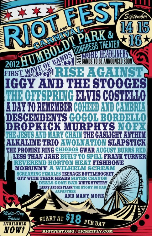 fuckkyeahchicago:  redeyechicago:  Add RIOT Fest! to the already huge pile of summer music fests to keep your eyes on. Lots of big-name bands on this one. Are you going to go?   i predict a riot!