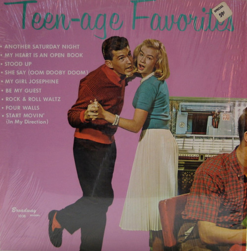 Teen-age Favorites on Flickr. Earlier this morning we posted the cover for 12 Hit Parade Tunes. Lo and behold, here is the same dancing couple on another collection of malt-shop hits! Different pose, same jukebox… and the right shoulder of male half of the teen couple sitting in the foreground of the previous cover. (Also note that the prior album was marked $1.49 on the cover, where this one is sticker priced at only 59 cents. Bargain!)