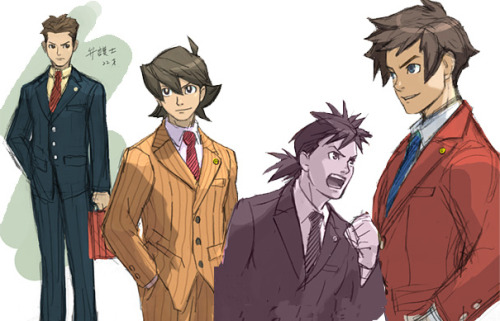 aaamaaa:  One of the first concept arts for Apollo Justice (Ace Attroney). They almost planned to make him look respectable /shot  Wow. I woulda gone for the orange one myself.