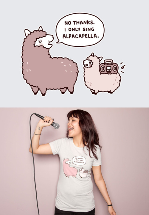 threadless:  Alpacapella by Nina Nguyen is today's new tee! Sing it from the rooftops!
