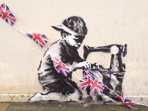 This new London mural being attributed to Banksy takes aim both at child labor practices and Elizabeth II's upcoming diamond jubilee celebrations.