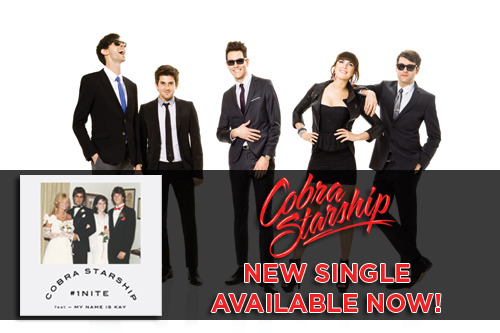 The new Cobra Starship single '#1Nite' featuring My Name Is Kay available now on iTunes!  Post this link on Twitter to promote the new single:  http://bit.ly/cobraitunes  We're giving away free Cobra Starship merch to the five best online promoters. Email erick@fueledbyramen.com as many times as you want to show how you're promoting! Attach screenshots of your online posts on Facebook, Twitter, Tumblr, and other sites.  Winners will be announced on Thursday.
