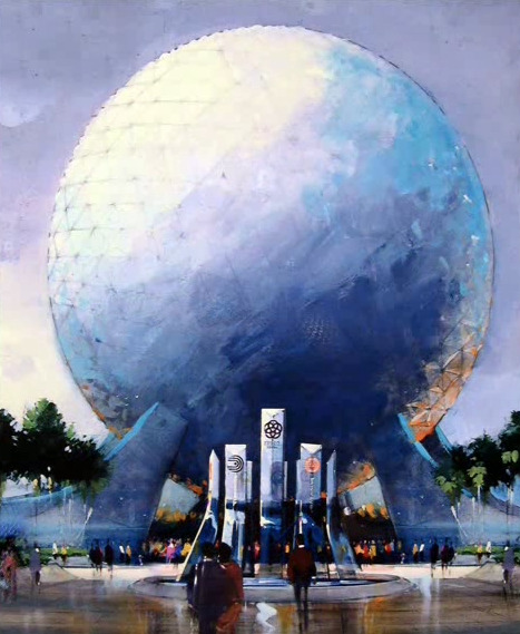 Early 1980 concept art by Tom Gilleon for Spaceship Earth and the EPCOT entrance plaza reveals a much more sleek take on the area. Gone are the overhangs and beveled edges to Spaceship Earth's wings, and instead of angular legs, soft curves swoop up to support the geosphere.  While this isn't a radical departure from the final product, it does have it's plusses. The simplistic geometric lines and shapes give Spaceship Earth a more monumental appearance, and even reduces a bit of the clutter in the atrium under the geosphere.  Further, the concept art for this early version of the EPCOT fountain is much more elaborate and features all of the pavilion logos, something what would have looked fantastic at EPCOT's gate and highly appropriate for the iconography of the park. Also notice that the EPCOT Center logo is a prototype of the final version and features a star in the center of the rings, rather than a globe.  If and when Leave a Legacy finally is removed from the park, this timeless and sleek idea for the face of EPCOT would be largely welcome.