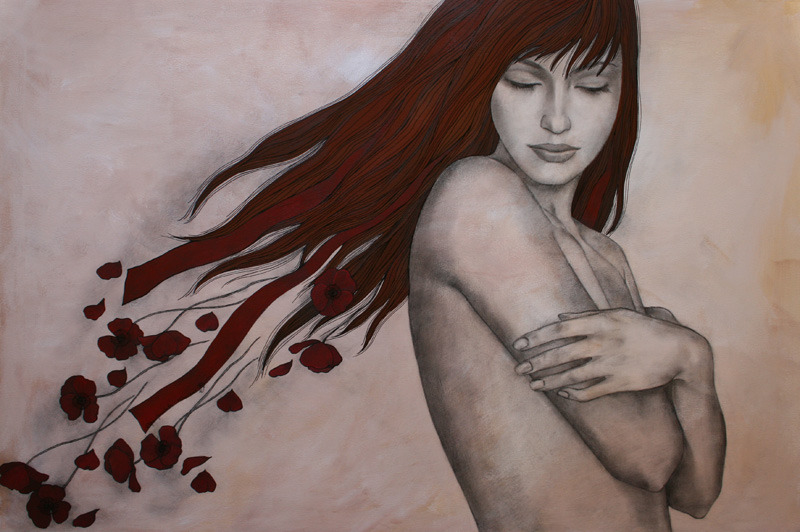 REDacrylic on canvas, sepia pencil, acrylic pen120x80 cm2008
