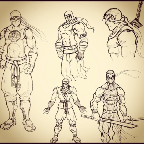 Early Kensaido Ninja sketches from when we were just starting development for Ninja Factor.  (Taken with Instagram)