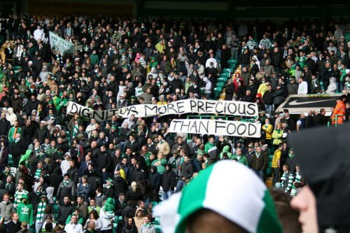 "resiststance:  ""Dignity is more precious than food."" Celtic fans - bossin' it again -in support of Palestinian hunger strikers."