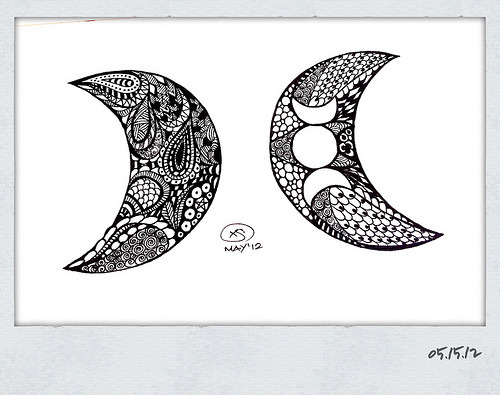 Waning and Waxing Crescent Moons; part of the Moon Series. I like how these turned out. :)— © X.S. 05.15.12