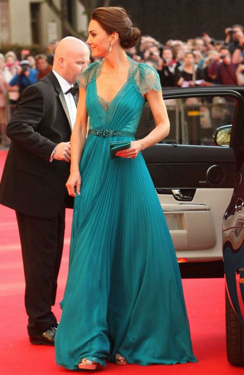 Kate Middleton, teal, Jenny Packham