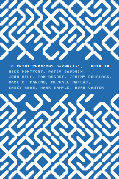 prostheticknowledge:  10 PRINT CHR$(205.5+RND(1)); : GOTO 10 (Book Cover)   The first book cover (I have seen) to use PETSCII (Commodore ASCII) characters as a pattern.  It is part of a compilation of writing from software artists (via Amazon):   This book takes a single line of code—the extremely concise BASIC program for the Commodore 64 inscribed in the title—and uses it aa a lens through which to consider the phenomenon of creative computing and the way computer programs exist in culture. The authors of this collaboratively written book treat code not as merely functional but as a text—in the case of 10 PRINT, a text that appeared in many different printed sources—that yields a story about its making, its purpose, its assumptions, and more. They consider randomness and regularity in computing and art, the maze in culture, the popular BASIC programming language, and the highly influential Commodore 64 computer.  Previous posts on this piece of code from this blog can be found here (image) and here (video)