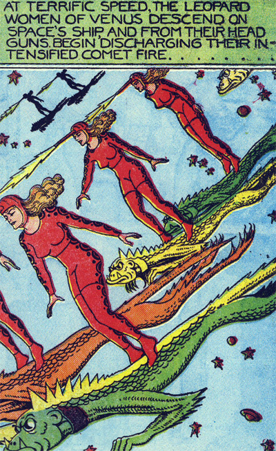 superdames:  The Leopard Women of Venus descend.   (Fletcher Hanks)