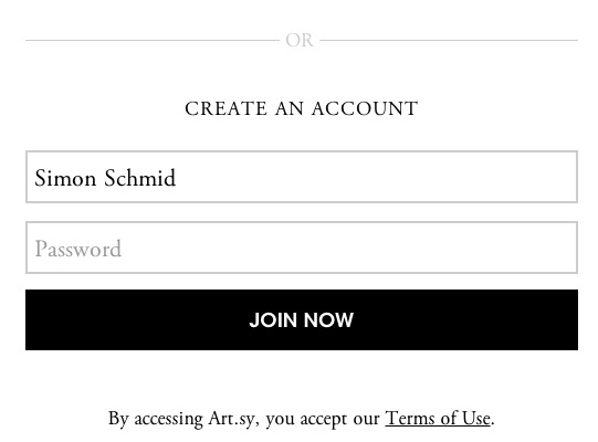 Easy sign up: when you're invited to @artsy there's only one thing you have to do, enter a password. Your name has been typed in by the inviter, your email is already in the database.  (Not the only slick thing they're doing).