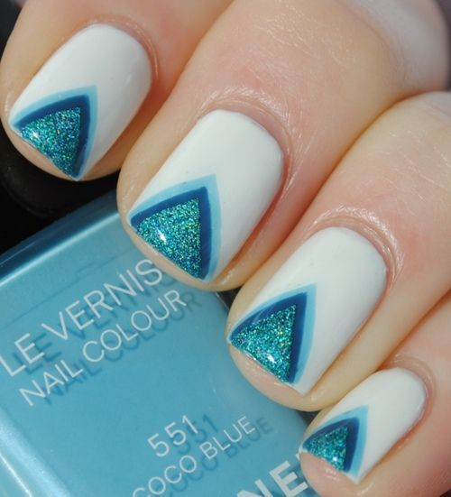 createthislookforless:  Triangle Nail Art