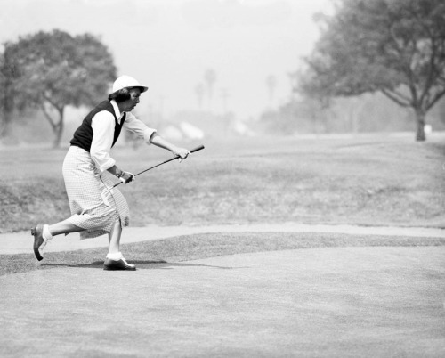On this day in 1951 in Pacific Palisades: Ruth McCullah golfing at the Riviera Country Club