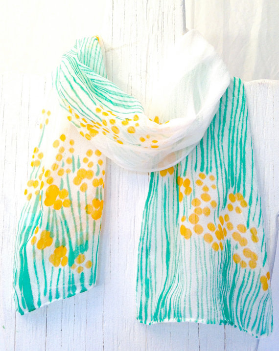 awesomeetsy:  (via Hand Painted Silk Scarf Floral Petite by SilkCouturebyTakuyo)