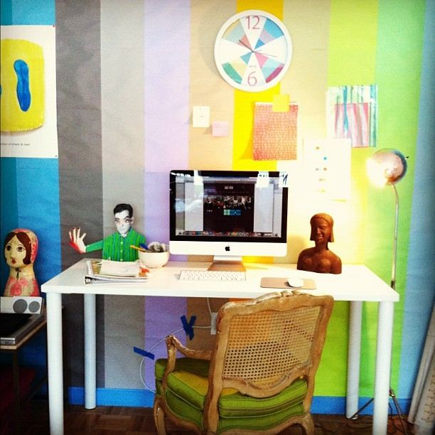I love working in a colorful environment - my happy desk at work! (Taken with Instagram at Doug and Gene Meyer Studio)
