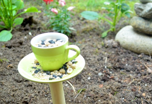 monsterboots:  Teacup bird-feeder! I made this one myself, using this tutorial: http://www.intimateweddings.com/blog/homemade-bird-feeder-from-vintage-teacups-diy-wedding-favors-gifts/  She recommends you use copper piping, but I just used a wooden dowel from Michaels for mine.