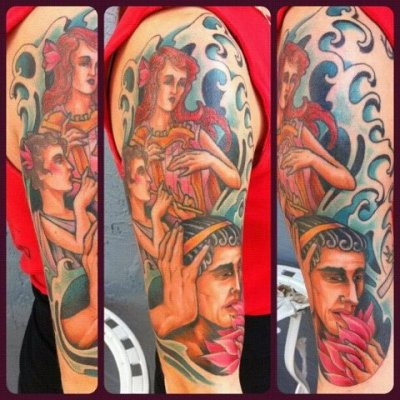 I just recently got my half-sleeve completely finished. These are pictures the artist, Dave Bruehl, took right after it was done. My sleeve consists of characters from the book The Odyssey. I decided on this tattoo because of the great symbolism that is used in the book,. Odysseus is eating a lotus, which is representing me forgetting my past. In the book, if anyone ate a lotus they forgot their home and could not return. Odysseus is also covering his ear with his other hand. This represents me not being reminded my past. The sirens (at the top) would remind people of their past by playing music, and this would cause them to crash their ships.