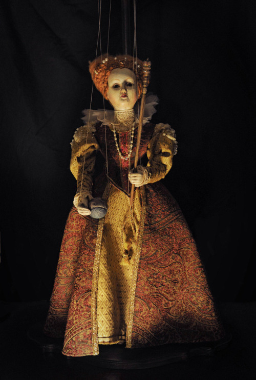 """The Virgin Queen"" Hand carved Marionette, Sonya Marie Palencia"