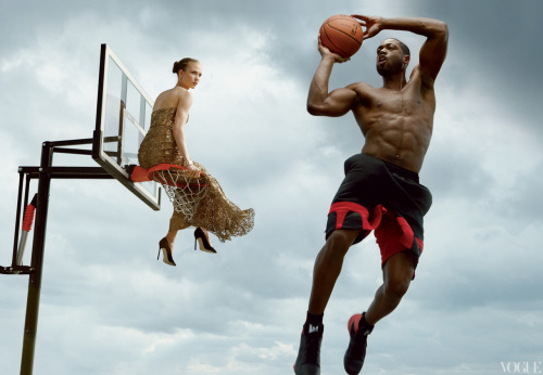 vogue:  Professional Basketball Player Dwyane Wade Photographed with Model Karlie Kloss by Annie Leibovitz for the June Issue of Vogue