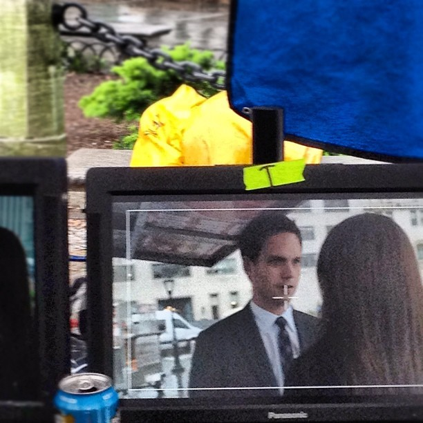 Mike and Rachel and a rainy rainy shoot day. #suits #suitors #halfadams #mikeross  (Taken with instagram)