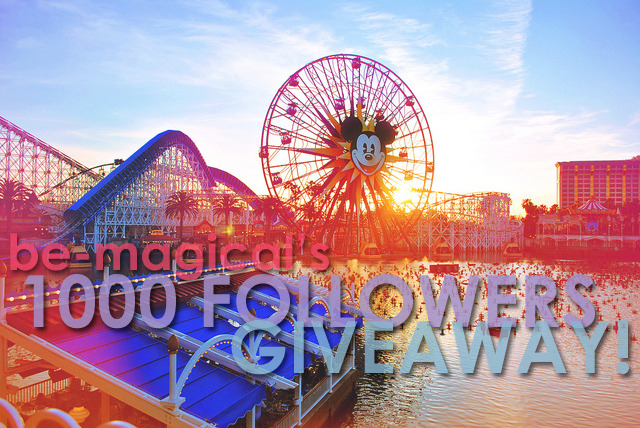 be-magical:  BE-MAGICAL'S 1000 FOLLOWERS GIVEAWAY!!! Be Magical had hit 1000 FOLLOWERS!! And as a token of my appreciation, I've decided to hold a 1000 FOLLOWERS GIVEAWAY!! I'm going to give one follower a box filled with Disney theme prizes which will include your choice of a Carsland/Buena Vista Street T-shirt or a personalized earhat as well as other random disney goodies. HOW DO YOU ENTER? JUST REBLOG THIS POST! Reblogs ONLY will be considered for this giveaway.  RULES: - To be eligible for this giveaway, you MUST be following be-magical. I'm not trying to gain followers with this. it's more about thanking my existing followers. However, new followers are welcome to enter as well. - There is no limit to how many times you can reblog this. Clearly the more you reblog, the greater the chance you'll have to win!- I'm only shipping to US addresses only. International rates are kinda expensive for my college student budget. I'm so sorry.  - The giveaway will end on May 30th 2012 at 11:55PM PST. Any reblogs after this time will NOT be considered. GOOD LUCK and THANKS SO MUCH!!!!