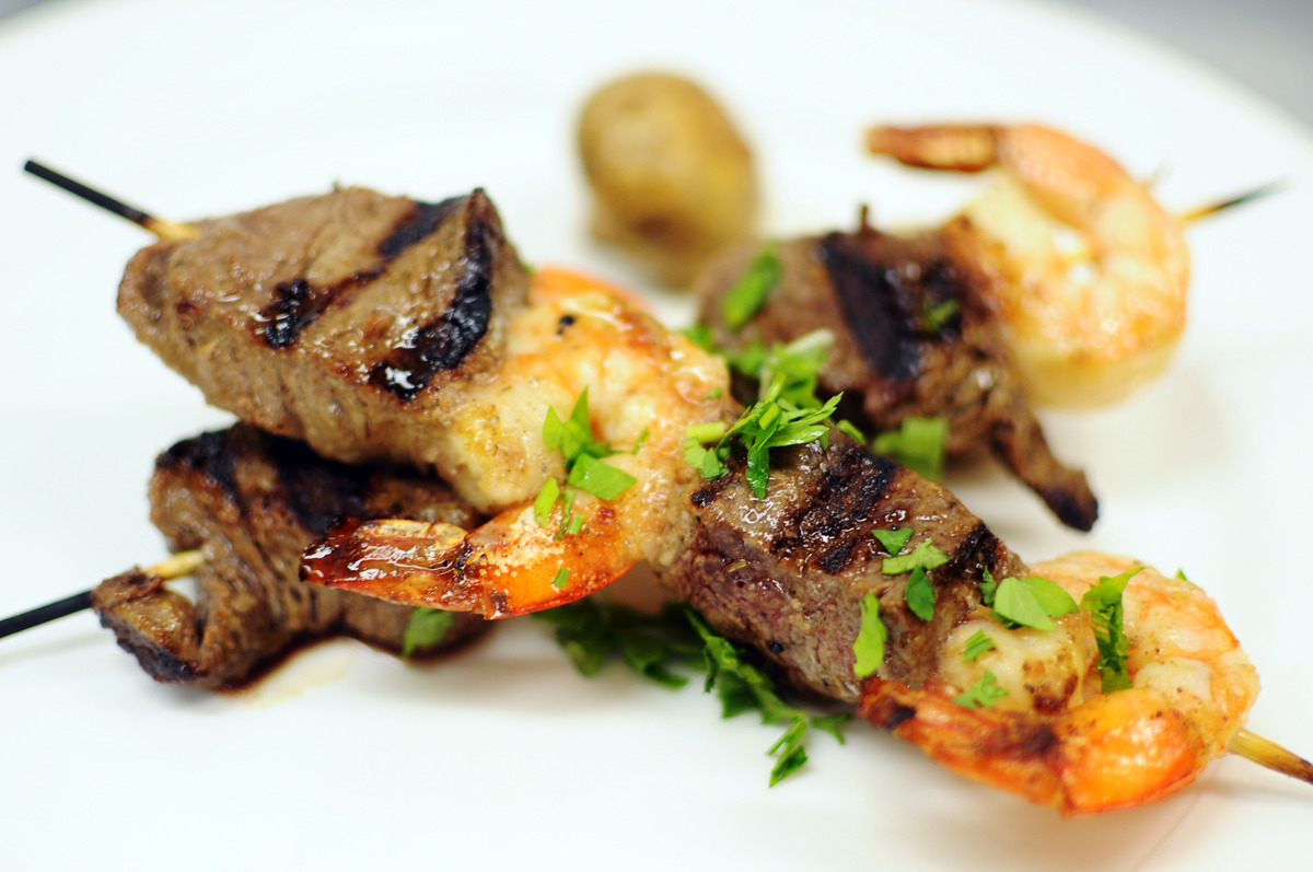 grilled beef fillet and shrimp skewers