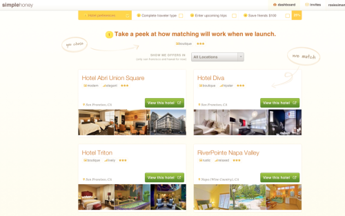 Finding the hotel you'll love.  SimpleHoney is a hotel-matching site - Think Wanderfly but just for hotels. Based on the type of trip you might want to take, the type of style you have, SimpleHoney recommends hotels that suit you. While it's currently only available for San Fran and Hawaii hotels, if you sign up now there's no membership fee. (And it sounds like when they roll out to other cities, you may have to pay a membership fee…) The site is beautifully designed and easy to use - so get on it!