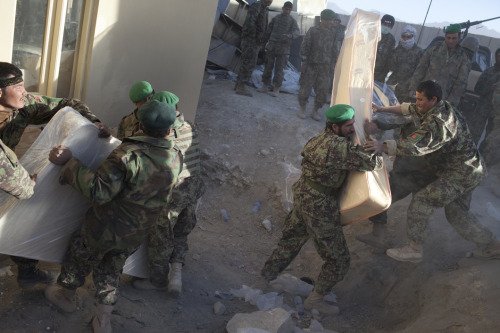Afghan Army recruits and soldiers move mattresses at a base outside of Kabul. Photo: Joel van Houdt The war in Afghanistan is not over. Help us tell the story. Fund our Kickstarter.