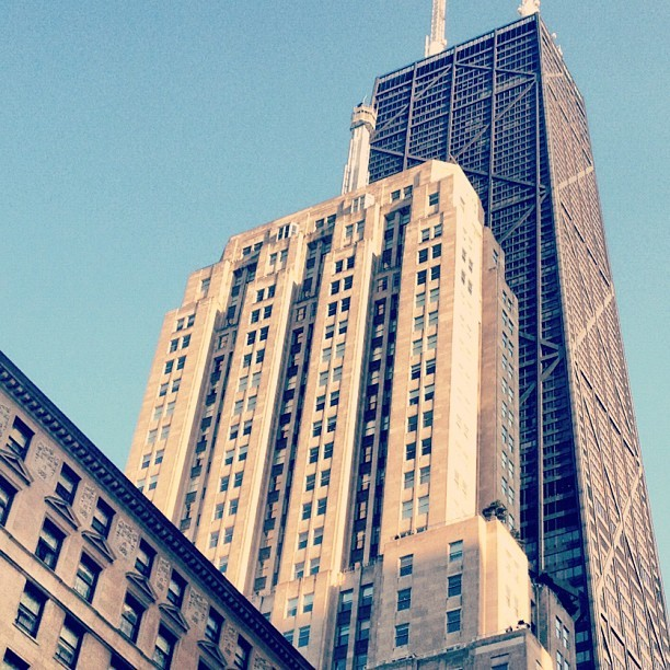 Drake, Palmolive, Hancock #chicago #chitecture #architecture #skyscraper  (Taken with instagram)