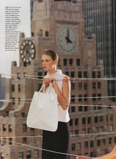 """Corporate Chic"", Angela Lindvall photographed by Steven Meisel in Vogue August 1998"