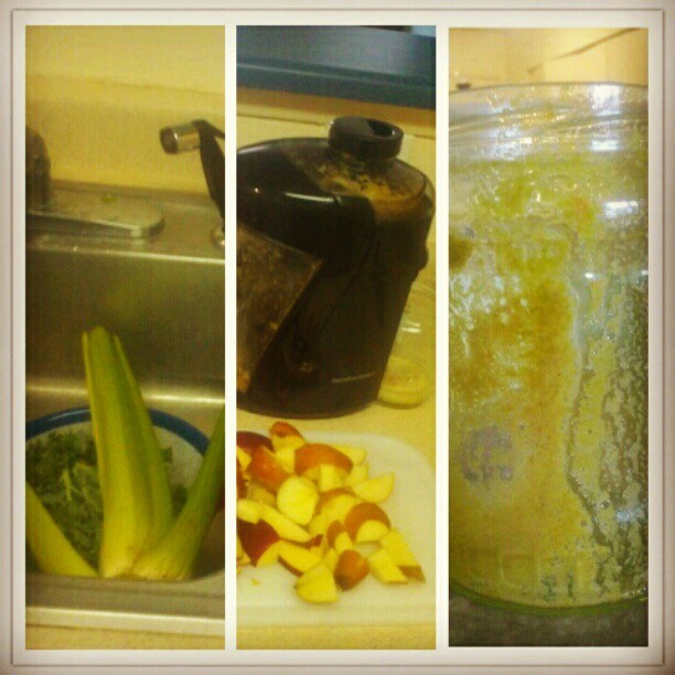 #juice #kale #spinach #apples #pears #celery #breakfast  (Taken with instagram)