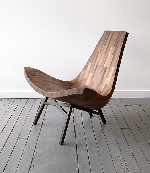 weandthecolor:  Water Tower Chair A wooden lounge chair, designed by BELLBOY, a collaborative wood shop based in Brooklyn. via: WE AND THE COLORFacebook // Twitter // Google+ // Pinterest