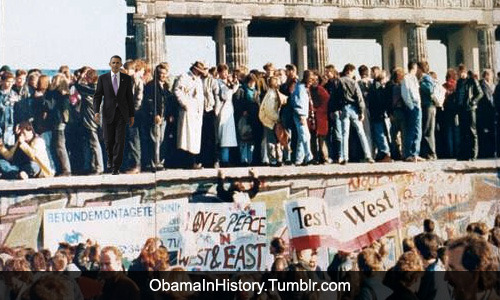 obamainhistory:  Obama At The Fall Of The Berlin Wall