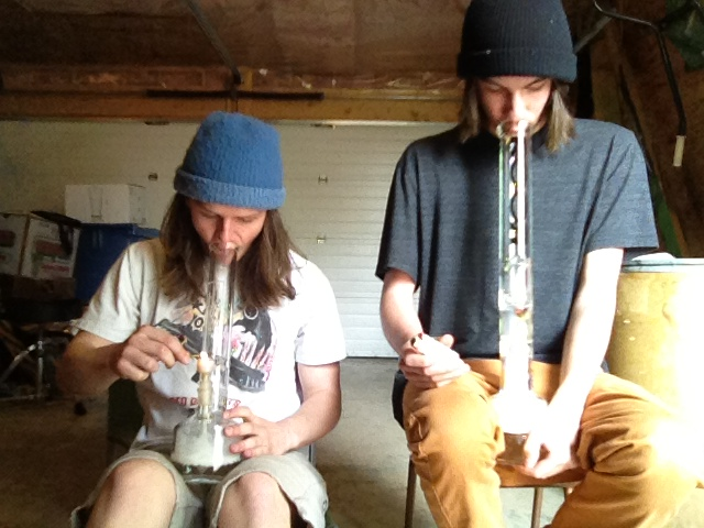 Milky bong hoots with our brand new bongs. My boy jesse. This is our first hoot each by the way ;)