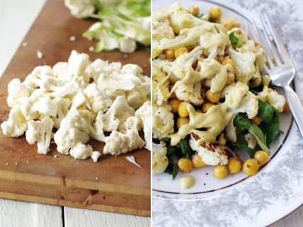 (via Meatless Monday: Roasted Cauliflower, Chickpeas, and Sautéed Chard with Tahini Dressing - Whole Living Daily : Whole Living)