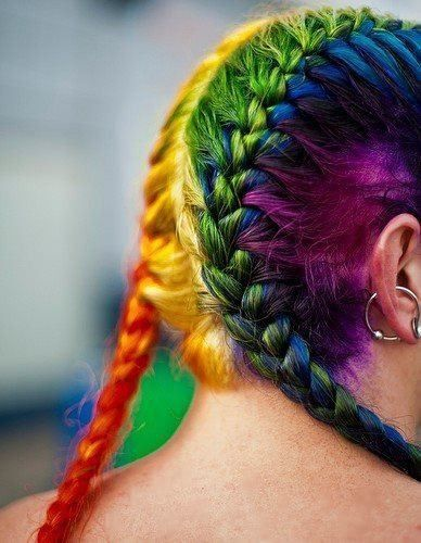 I think this is gorgeous! Though with all the things I do to my hair even I don't have the patience to maintain a rainbow color job myself. Big props to all who do.