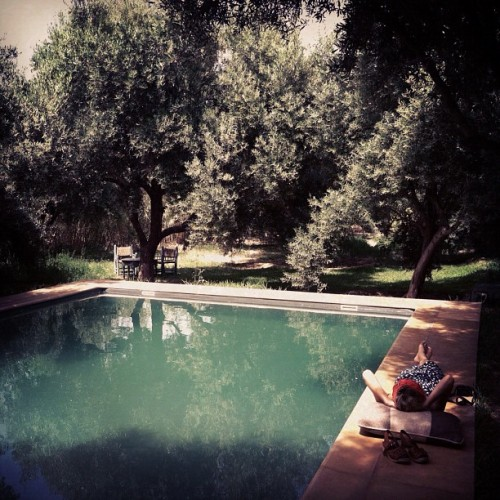 Beneath the shade of olive trees by the anthracite pool at La Pause.