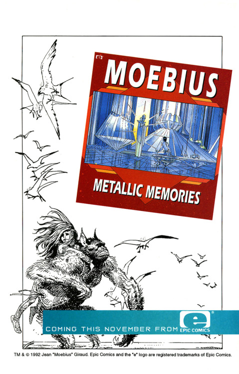 Promotional ad for Metallic Memories by Jean 'Moebius' Giraud, 1992.