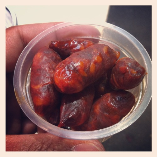 Mini Xoreç (chorizo) sausages. Snappy. #laboquiera #barcelona -  May 15, 2012 at 07:46AM. /via http://flic.kr/p/bYHFF5