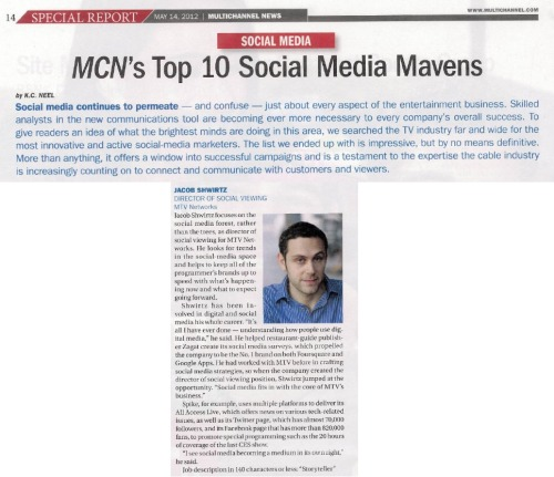 "I am honored to be included in Multichannel News' list of ""Top Ten Social Media Mavens"" (site is by subscription only). What a cool honor!"
