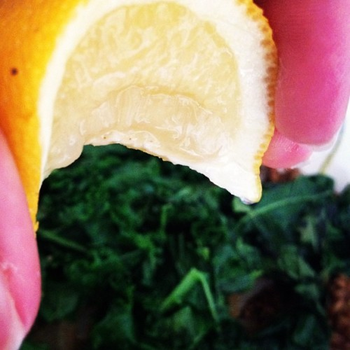 Finishing touches on dinner- Wheatberries, kale, onion (Taken with instagram)