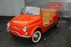 carmonday:  this car is worth $105.000,00 (82.800,00€) 1967 Fiat 500D Jolly Beach Car recently sold at Bonhams in Monaco