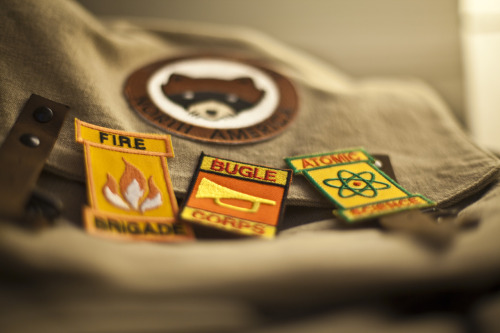 Khaki Scouts badges!  Wrap gifts for the Moonrise Kingdom crew