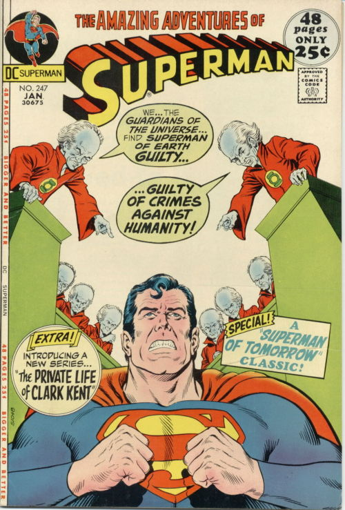 "Superman #247, January 1972, cover by Curt Swan and Murphy Anderson ""Must There Be A Superman?"""